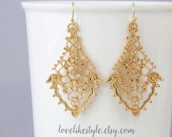 Gold Filigree Earrings, Chic Bohemian Filigree Dangle Earrings, Moroccan Earrings, Bridesmaid Earrings, Bridal Shower Gift-2020