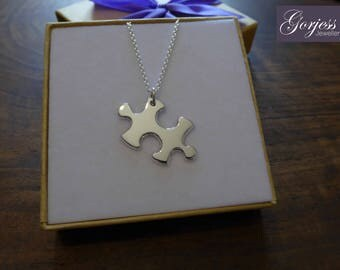 Silver Puzzle Pendant Handmade Necklace