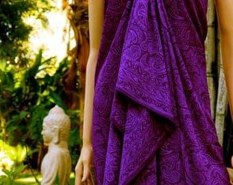 Purple Sarong, Swimsuit cover up, Beach Sarong, Pareo