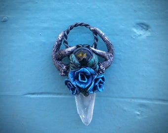 Roses n Antlers Quartz Crystal Faerie Pendant READY TO SHIP Dark Mori Forest Fairy Elven Garden Mystical Necklace