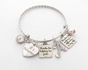Babysitter Gift- Nanny Jewelry Bracelet-Gift Ideas for Baby Sitters- Babysitter Bangle- Best Babysitter #1 Babysitter-Gifts for Nannys
