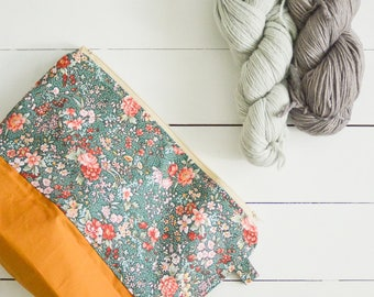 knitting project zip bag - large - country florals