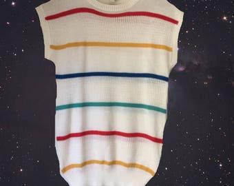 sleeveless sweater, rainbow sweater, striped sweater vest, par four for her, golf sweater, summer sweater, rainbow pattern, 80s sweater vest