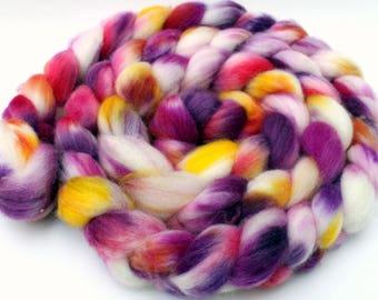 """Hand painted superwash merino/nylon spinning fiber/roving in """"Dahlias"""""""