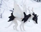 White dragon doe, Needle felted dragon toy, Fantasy dragon figurine
