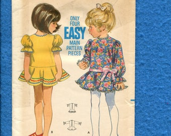 Vintage 1960s Butterick 5522 Pretty Party Dresses with Drops Waist Flounce Skirt and Puff Sleeves for Wee Little Girls Size 1
