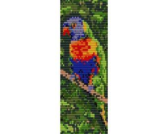 Lorikeet 3 Bird Loom Bead Pattern, Bracelet Pattern, Bookmark Pattern, Seed Beading Pattern Delica Size 11 Beads - PDF Instant Download