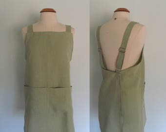 Linen Japanese Apron, Wrap Apron, Pinafore, Adjustable, Garden Apron, Artist Apron, Light Green Moss Green Short or Long Length, Willow