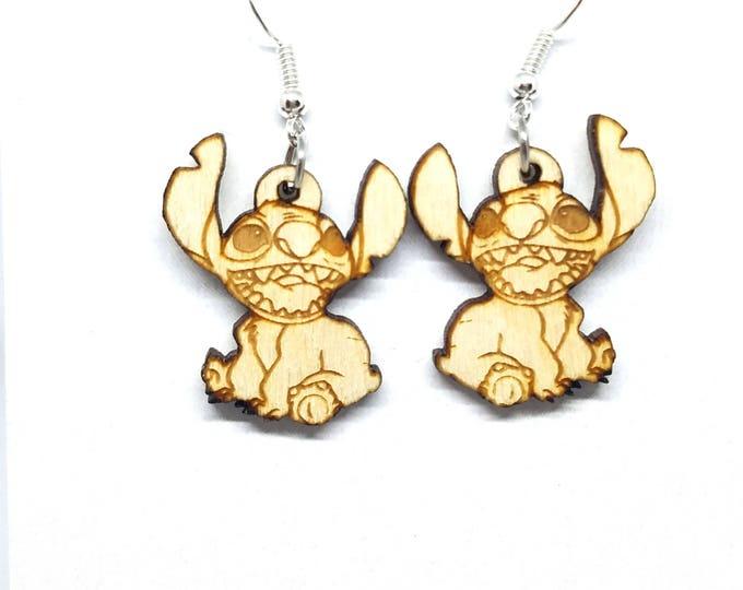 Stitch Dangle Earrings | Laser Cut Jewelry | Hypoallergenic Hook Dangle Earrings | Wood Earrings