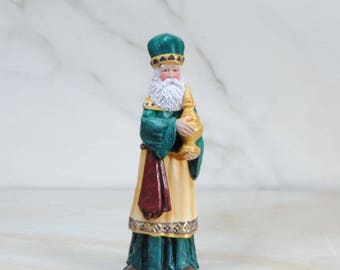 Vintage Christmas Nativity, Nativity Scene, Bisque Wiseman Wearing A Green Cape, Hand Painted, Cracker Barrel