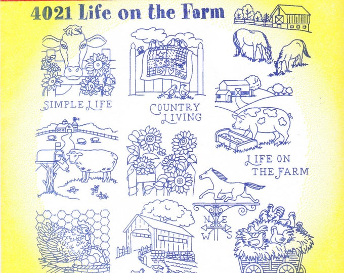 Vintage Aunt Martha's Hot Iron Transfer 4021, Life On The Farm
