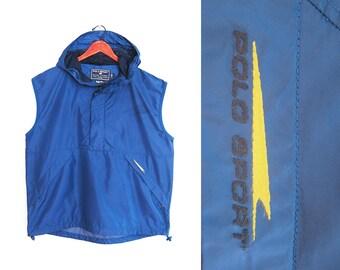 vintage windbreaker / POLO Sport jacket / 90s hip hop clothing / 1990s POLO Sport muscle hoodie windbreaker Large