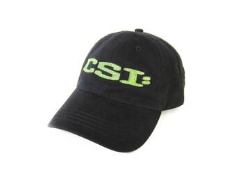 vintage baseball hat / CSI hat / 90s dad hat / black CSI Crime Scene Investigation tv show dad hat strap back