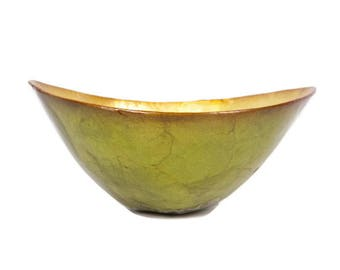 Vintage Capiz Shell Bowl Avocado Green Sauce Appetizer Candy Dish Nut Bowl Serving Dish Lime  Green