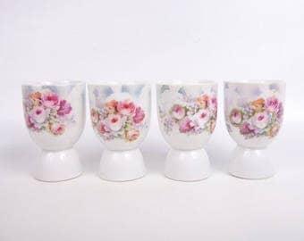 Vintage German Egg Cups Hand Painted Floral Luster Germany Porcelain Egg Cup Set of 4 Hand Painted Pastel Floral