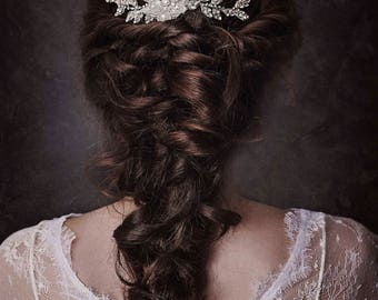 Couture Custom Silver Lace Floral hair Vine, Silver Flower Comb, Silver Hair Vine, Leaf Hair Vine, Alyssa Silver Floral Headpiece GD180117