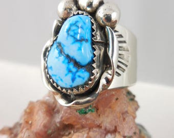 Tony Kyasyousie Native American Hopi Turquoise Sterling Silver Ring