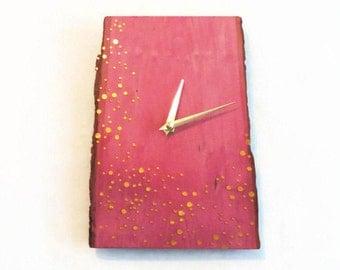 Wall Clock, Reclaimed Wood Clock, Pink Ombre Art, Gold Polka Dots, Reclaimed Wood Clock,  Home and Living, Home Decor
