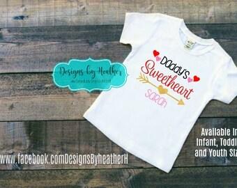 Valentine's Shirt - Personalized Valentine Shirt - Kid's Valentine Shirt - Daddy's Sweetheart - Daddy's Girl Shirt - Daddy's Valentine
