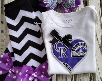 Colorado Rockies Baby - Girl Baseball Bodysuit - Matching Leg Warmers - MLB Colorado Rockies Bodysuit - Baby Shower Gift