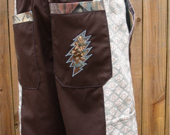 mens patchwork Dude Shorts brown hippie paisley botanical seven  30 32 34 36 38 40 earthy ready to ship festival burner