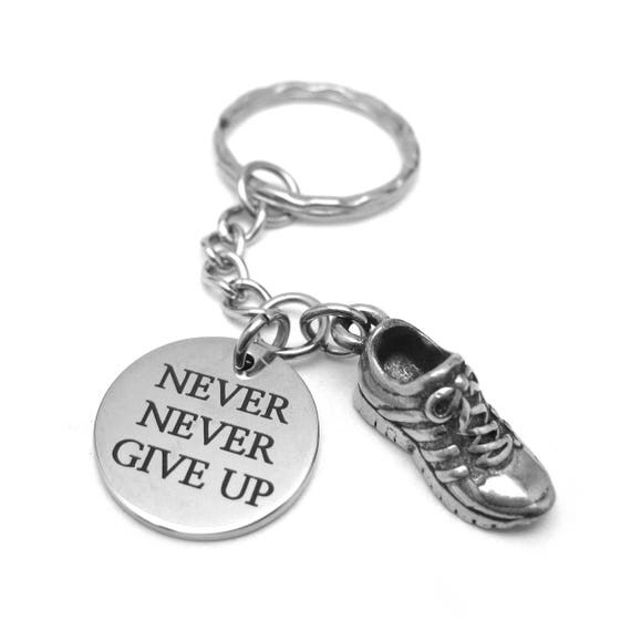 Weight Loss Journey - Diet Motivation - Never Never Give Up Running Shoe Keychain - Fitness Motivation