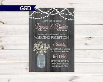 Wedding Reception Invitation On With Babys Breath Mason Jar Invite Only