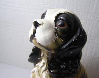 "1940's ""Scruffy"" Cocker Spaniel. Ceramic Chippy Black and White Spaghetti Ear 10"" tall vintage figurine."