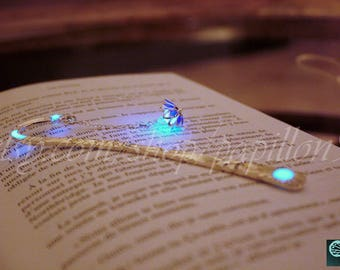 Blue or Purple Lotus Flower BOOKMARK GLOW in the DARK