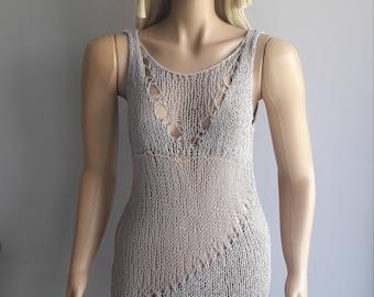 Tulle - Mini Dress / Sleeveless Dress / Hand Knitted Dress / Loose Knit Dress / Hand Knitted Tunic / Beach Cover / Spring Summer
