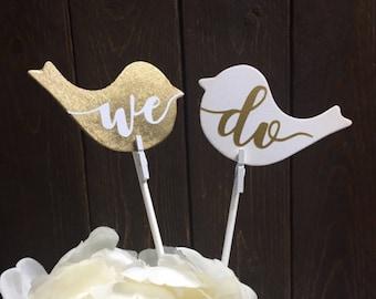 WE DO lovebirds cake topper, rustic wedding decor. Vintage lovebirds couple.