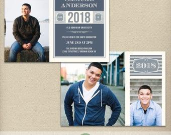 5x7 Graduation Announcement Card Template, Graduation Invitation, Class of 2018, 2019, High School, College, Senior, Multiple Photos - G9