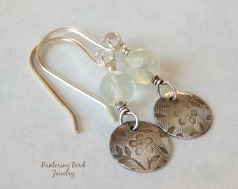 Pale Green Fluorite Earrings with Small Sterling Silver Floral Charm Drop, Fine Sterling Silver Gemstone Jewelry