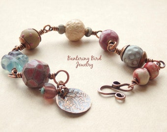 Chunky Bracelet, Pastel Ceramic Beads with Blue Fluorite Flower, Hammered Copper Paisley Charm, Unique Gift for Woman