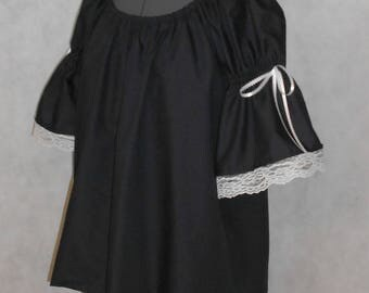 Peasant Blouse Short Sleeve with Lace/ Renaissance Chemise / Pirate Shirt / Wench / Black and white Shirt / Renaissance costume  - Civil War