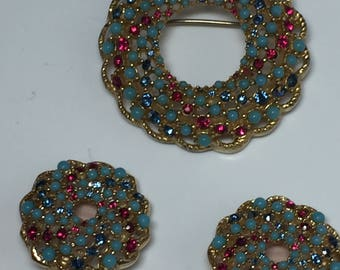 Sarah Coventry  Demi Parure  Brooch and Earrings Turquoise, Pink, Blue  Signed  Item: 17491-92