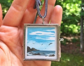 Original Miniature Landscape Painting in Glass Locket Pendant Wearable Art Jewelry - Mist At The Point - by Em Campbell