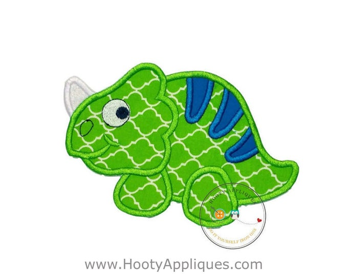 Neon green and bright blue dinosaur - Iron embroidered fabric applique patch embellishment-ready to ship