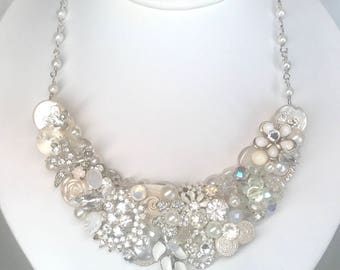 Bridal Statement Necklace- Vintage-Inspired Necklace- Bespoke Bridal Necklace- Brass Boheme- Wedding Bib Necklace- Vintage Brooch Necklace