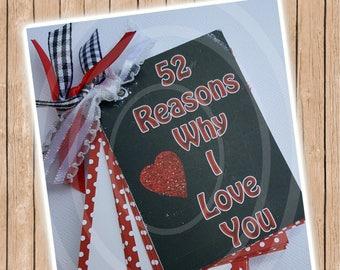 52 Reasons Why I Love You Mini Journal Valentine Mini Album Wedding Anniversary Memories Printable 52 Reasons Why I Love You Printable Album