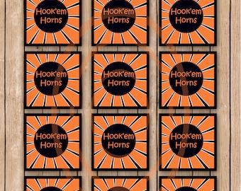 UT Party Favor Bags University of Texas Cupcake Toppers Hookem Horns Stickers UT favors Football favor bags Football stickers orange sticker