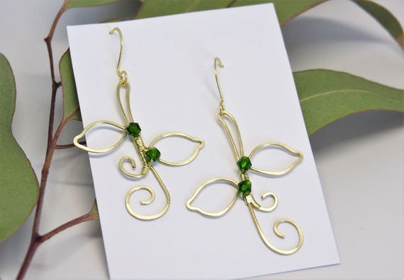 Leaf earrings gold green wire wrapped dangle drop Nature jewelry Bridesmaids gift for women Anniversary Christmas gifts Artisan Handmade