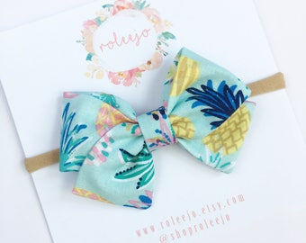 Summer Pineapple Sailor Bow; Baby Girl, Toddler, Girl Hair Accessories