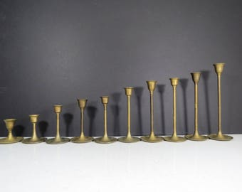 Brass Candlesticks Set // Vintage Mid Century Modern Set of 10 Mismatched Graduated Heights Tulip Style Candleholders Collection Centerpiece