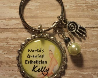 Personalized World's Greatest Esthetician key chain with charms