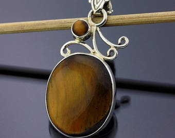 Amazing Tiger Eye Handmade Pendant // 925 Sterling Silver // 1 5/8 Inch Pendant Jewelry