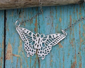 Sterling Silver Butterfly Necklace; Dainty, Casual, Everyday Necklace on a 16, 17, 18, 19 or 20-Inch Sterling Silver Cable Chain, Gift
