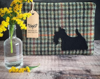 Scottish Terrier on British Tweed Make-up Bag