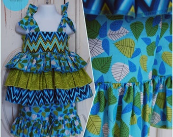 FLASH SALE // Shades of Blue and Green Leaf Ruffled Two Piece