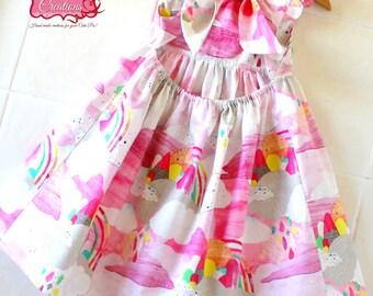 Rainbow Cloud Girls dress-  little girls dress, rainbow dress, toddler dress, Open back dress, birthday dress, summer dress, party dress